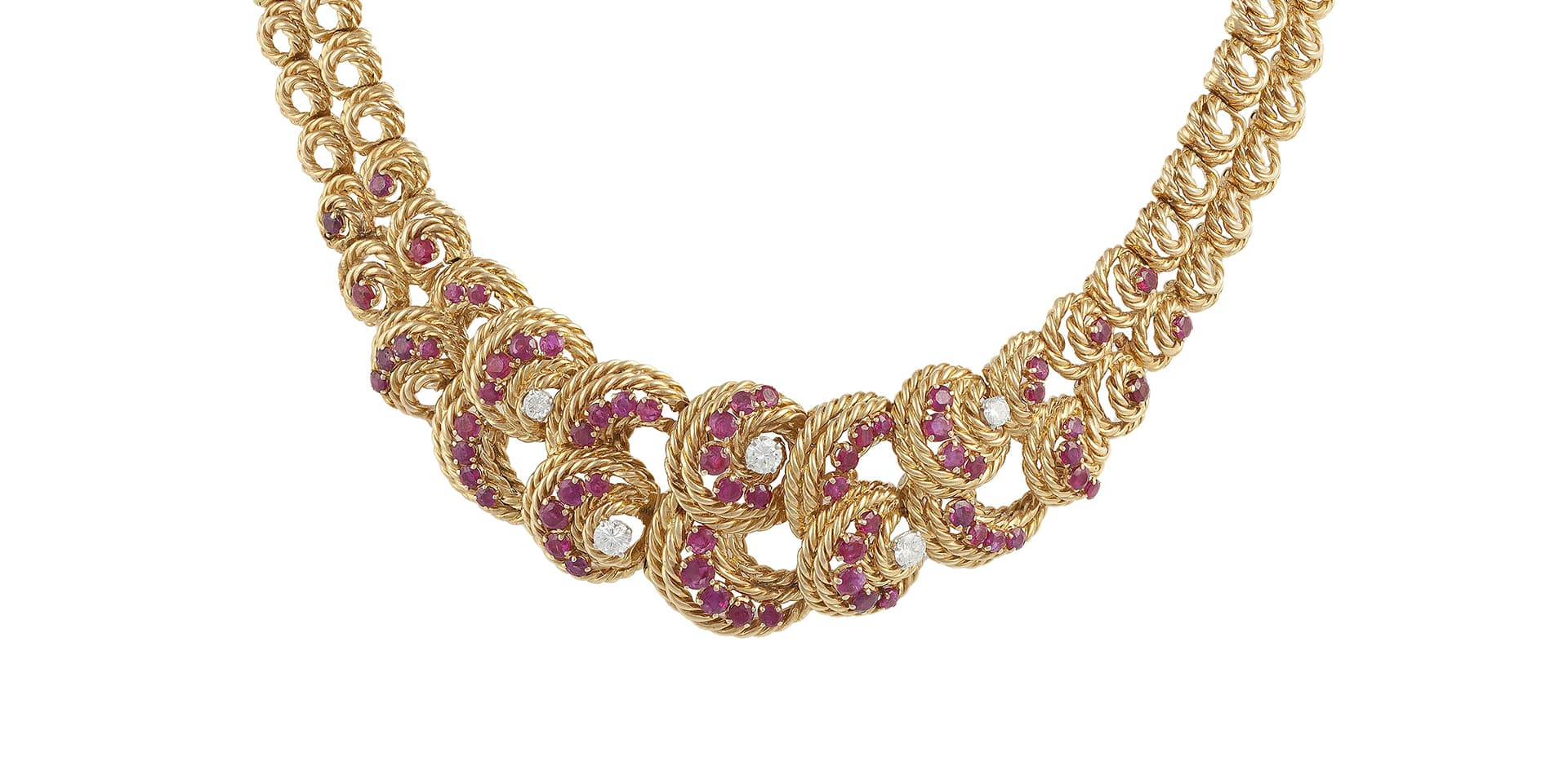 A Ruby and Diamond Necklace by Lacloche, circa 1950's - sold for €14,000